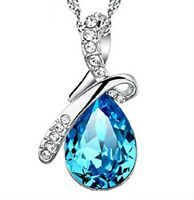 Sterling Silver Tear Drop Necklace for Women Blue Gift for Her Wedding Necklace