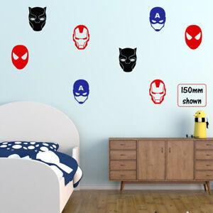 SUPERHERO Masks Wall Sticker Boys Vinyl Bedroom Decals Transfers 100mm or 150mm