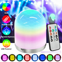 LED Night Light RGB Color Bedside Remote Control Smart Dimmer Rechargeable Lamp