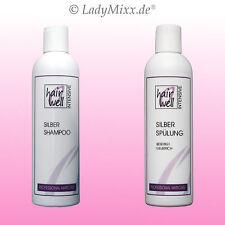 Set Silberweiß Blauspülung Shampoo + Conditioner 2x250ml Anti Gelbstich HAIRWELL