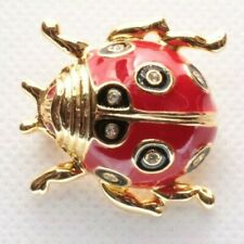 Brooch Pin - Ladybug - Beetle - Red & Black Enamel - Rhinestones - Gold Tone