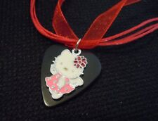 Hello Kitty Guitar Pick Necklace on Red Ribbon Cord
