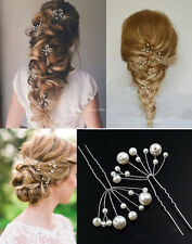 6 X Wedding Bride Bridesmaid Prom Pearl Party Hair Pin Crown Hair Accessory UK