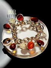 Bracelet Golden Art Deco Charms Amber Eye Tiger Ethnic Vintage Retro CT2