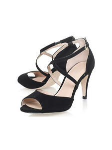 CARVELA 'Kimi' Cross Strap Sandals Kurt Geiger Size 3 UK  Black Suedette *NEW*