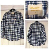 Wrangler Authentic Western Blue Check Shirt Retro Cotton Linen Size Small S B268