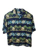 Pusser's Island Reserve Blue Floral Hawaiian Hut Shirt Flowers 100% Silk Mens L