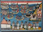 Primitive Ethiopian Church Religious Painting Boats with People