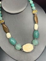 Vintage Bohemian Faux Bone  Green Brown 16 inch Beaded statement Necklace