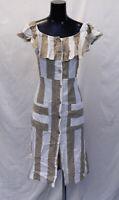 Boohoo Women's Off-Shoulder Wide Stripe Midi Dress HD3 Taupe Size US:10 UK:14