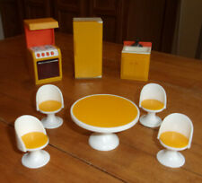 Vtg  Fisher Price Mid Century Kitchen Table & 4 chairs w/ Fridge Sink & Stove