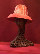 Vintage 50's Straw Hat Raffia Hat High Crown  Beach Made In Italy