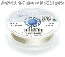 """GRIFFIN SILVER PLATED STEEL BEADING JEWELRY WIRE .014"""" / 0.35mm 30ft 19 STRAND"""