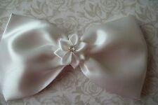 Gran lazo de satén blanco hecho a mano pelo Clip Cinta Flor 50s Vintage Style Glamour