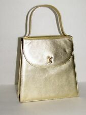 PALOMA PICASSO AUTH Metallic Gold Baguette Evening Bag