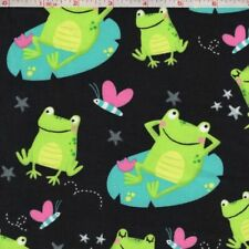 GONE FISHING FROGS FISH BIRDS KIDS FABRIC WHITE COTTON FABRIC FQ OOP