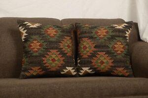 Set Of 2 Pcs Handmade Kilim Jute Cushion Cover 18x18 Hand-woven Rugs Cases 8293