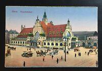 AK ESSEN, Ruhr Hauptbahnhof Autos, Kutschen nicht gelaufen ca. 1900