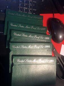 1994-1998 US Proof Sets (5 Sets) Green Boxes