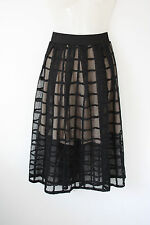 Boohoo gothic black grid mesh midi skirt with nude underskirt Vamp Evening L 28W
