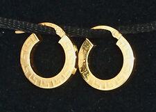 SOLID 18K ITALIAN YELLOW GOLD GREEK KEY HOOP PIERCED EARRINGS by MILOR
