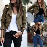 NEW Womens BIKER JACKET Crop SUEDE LEATHER Coat Top Ladies ZIP Coat Size 8 10 12