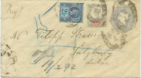GB 1892 QV 2 ½ D greyblue postal stationery env uprated EARLIEST KNOWN USAGE!!