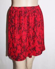 Peter Morrissey Designer Red Floral Chiffon Pleated Skirt Size 10 BNWT #SZ97