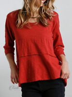 Umgee | Brick Red Round Neck 3/4 Sleeve Tiered Raw Hem Top | NWT Size: S M L