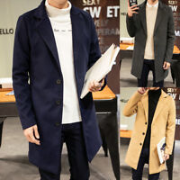 Men's Woolen Coat Winter Trench Coat Solid Overcoat Long Jackets Long Coats 2019