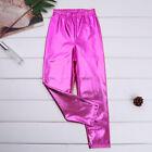 Girls Shiny Metallic Fashion Solid Skinny Pants Dance Sports Gym Jazz Costume