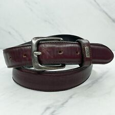 Hugo Boss Burgundy Distressed Leather Belt Size 32