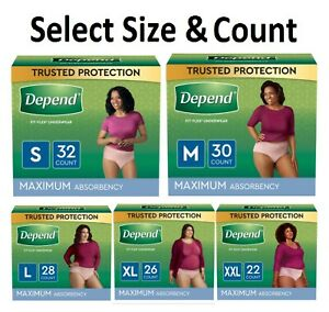 Depend FIT-FLEX Women's Incontinence Underwear Maximum Absorbency S/M/L/XL/XXL