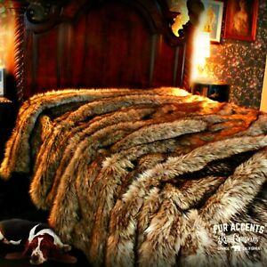 Plush Faux Fur Bedspread, Throw Blanket, Comforter, Gold Gray Wolf, Minky Lining