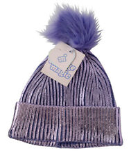 More Than Magic Girls' Shimmery Purple Beanie Hat with Pom-Pom, New