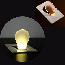 2x Portable LED Night Light Credit Card Lamp Wallet Purse Pocket Holder Bulbs