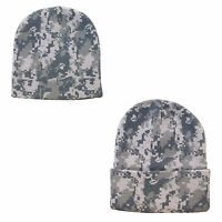 Digital Grey Pixel Camo Camouflage Warm Winter Beanie Beanies Hat Hats Cap Caps