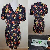 DeVille Vintage 80s Black Playsuit Pink Yellow Floral Print Size 12 Faux Wrap