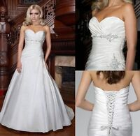 Stock New White/ivory Taffeta Bridal Gown Wedding Dresses Size 6-8-10-12-14-16