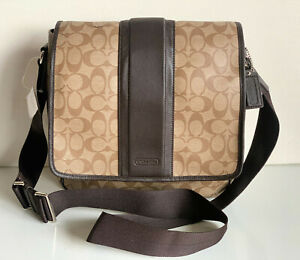 NEW! COACH HERITAGE SIGNATURE MAP CROSSBODY SLING MESSENGER BAG $328 KHAKI BROWN