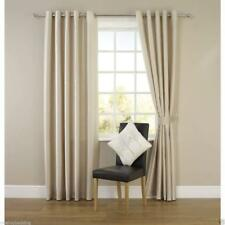 Fully Lined FAUX SILK CURTAIN Pencil Pleat or Eyelet Ring Top FREE Tiebacks