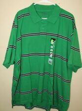 No Boundaries Men's XXL (50/52) Polo Shirt Green with Black White Stripes
