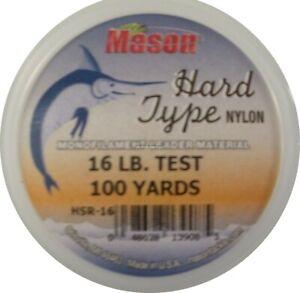 NEW! Mason HSR-16 Hard Type Nylon Leader Material - 16lb 100yd Keeper