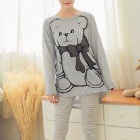 Womens Girl Long Sleeve Sleepwear Pajamas Sets Character Printing Home Nightwear