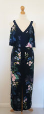 Monsoon Maxi Dress Floral Navy Split Stretchy Wedding Bridesmaid Size 10