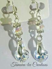 Artisan with Swarovski crystals Aurora borealis hearts💕silver drop earrings