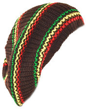 Unisex Slouchy Rasta Beanie Knit Hat Tri Colors Stripe-green yellow red(brown)