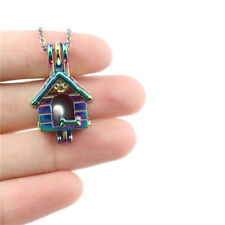 C645 Pet Puppy House Pearl Cage Locket Kennel Bead Cage Colorful Necklace 18""