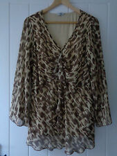 Gorgeous Brown Print Tunic Top With Frill Detail From Joanna Hope Size 18
