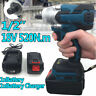 "18V 1/2"" 520Nm Torque Brushless Cordless Electric Impact Wrench Driver + Battery"